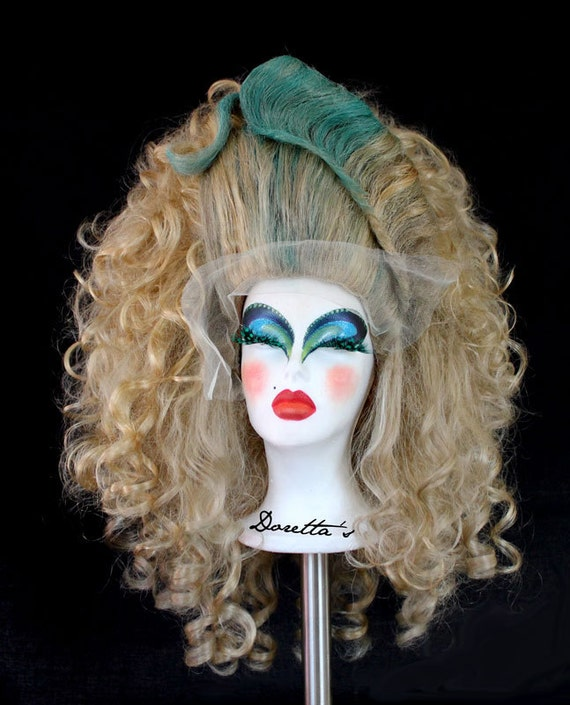 "Blonde & Turquoise Blue Curly Wig - Big and High Hairdo - Cher's ""Mermaids"" inspired - Doretta's creations"