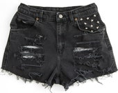 Studded Shorts, Vintage Distressed High Waisted Denim, Upcycled W28