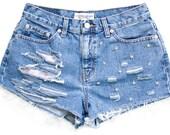 Studded Shorts, Vintage Distressed High Waisted Denim W29