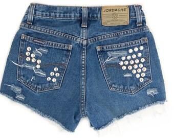 Studded Shorts Vintage Distressed High Waisted Blue Denim Hipster Boho Hippie Upcycled Jordache Small Medium W27