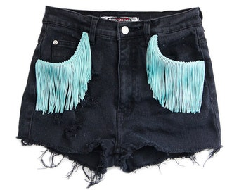 Fringe Shorts, Vintage Distressed High Waisted Black Denim, Upcycled W26