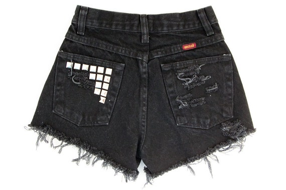 Studded Shorts, Vintage Distressed High Waisted Denim, Upcycled W24