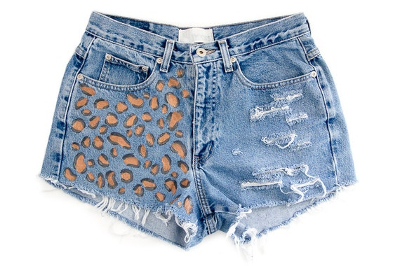Cheetah Leopard Print Shorts Hand Painted Vintage Distressed High Waisted Denim Upcycled Hippie Boho Hipster Coachella W30