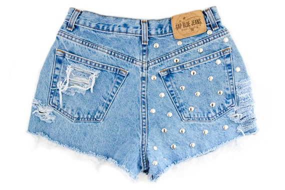 Studded Shorts, Vintage Distressed High Waisted Denim W28