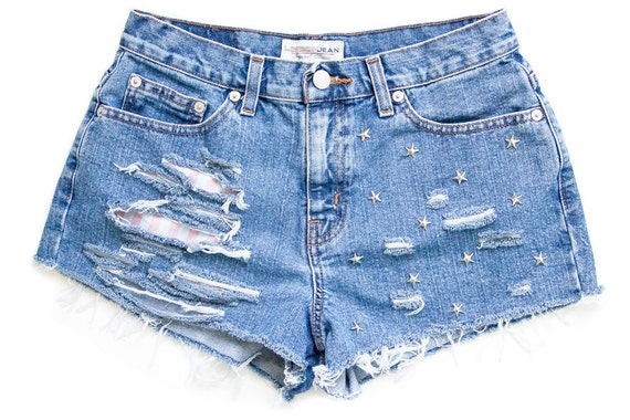Studded Shorts, Vintage Distressed High Waisted Denim W29