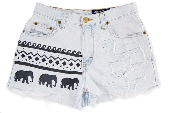 Tribal/Aztec Elephant and Waves Shorts, Hand Painted, Vintage Distressed High Waisted Denim, Upcycled W27