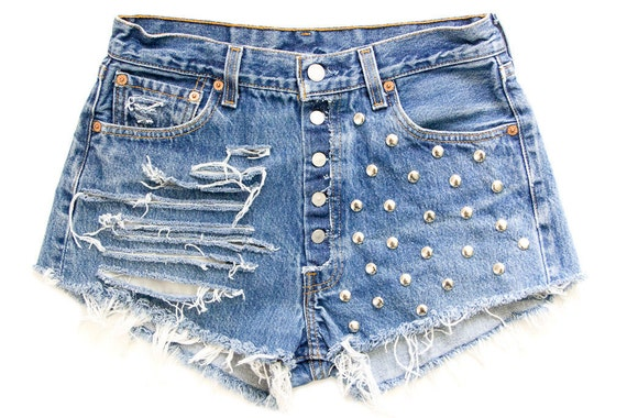 Studded Shorts, Vintage Distressed High Waisted Denim W30