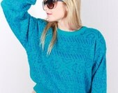 Vintage 80's Slouchy Grunge Metallic blue Batwing Sweater