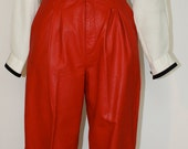Vintage 80's High Waisted Bright Red Leather Motorcycle Pants