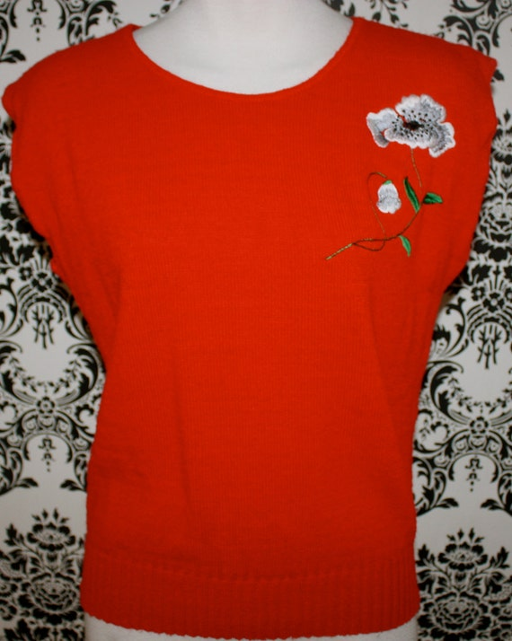 Vintage Red Pull Over Embroidered Sweater Vest