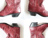 RESERVED Vintage Red Leather Cowboy Boots - Laredo - Unisex - Women - PRICE REDUCED