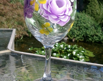 Hand Painted Wine Glass - Purple Rose