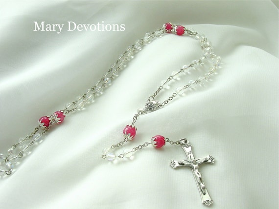 Flower Capped First Communion Rosary