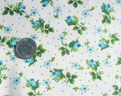 Blue Rose Vintage Chintz Fabric Cottage Chic Floral 1 Yard