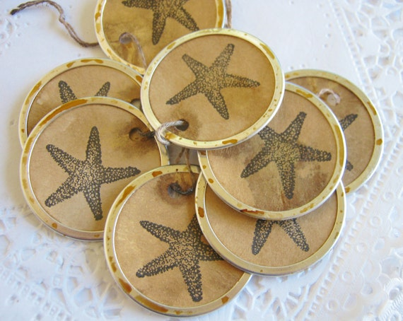 Little Sea Star Tags Handmade Aged Star Fish Round Metal Rimmed Hang Tags