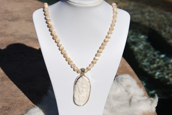 Mother of Pearl beaded necklace with a Scrimshaw carved pendant, Beaded necklace, Handmade beaded necklace, One of a Kind beaded necklace