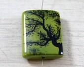 Porcelain Focal Bead Hand Painted Green Black Tree Pendant