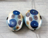 Porcelain Matched Pair Beads Hand Painted Blue, Gold, Yellow Modern Earrings