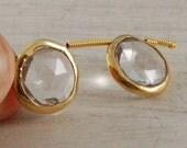 Bezel Set Rock Quartz Gold Vermeil matched pair brios