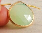Bezel Set Soft Green Chalcedony Gold Vermeil Pendant Brio