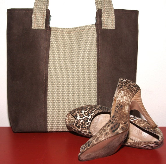 Hayden Sage and Olive Microsuede Tote Lined in Teal Paisley