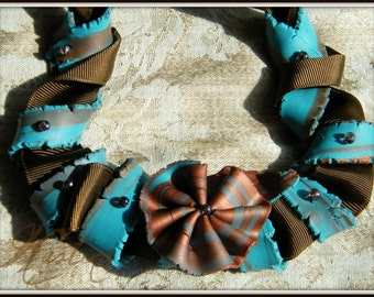 Polymer Clay and Ribbon necklace, handmade jewelry,OOAK necklace