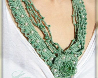 OOAK mint green crochet necklace, handmade, unique