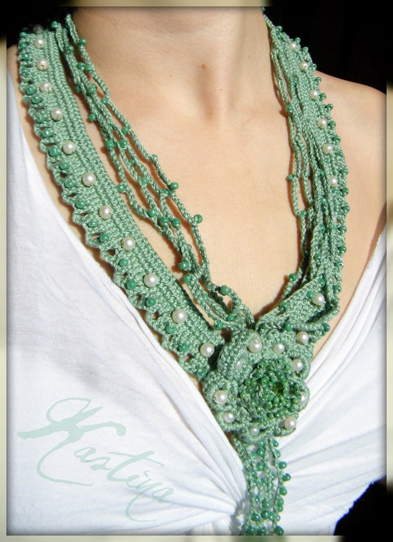OOAK mint green crochet necklace, handmade, unique
