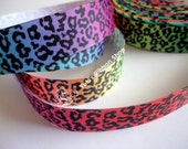 "5 Yards of 7/8"" Grosgrain Ribbon Colorful Rainbow Cheetah Print Leopard Pink Blue Purple Red Gradient Lisa Frank Style"