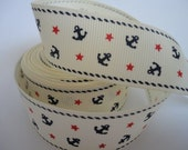 "5 Yards of 7/8"" Grosgrain Ribbon Anchor Stars"