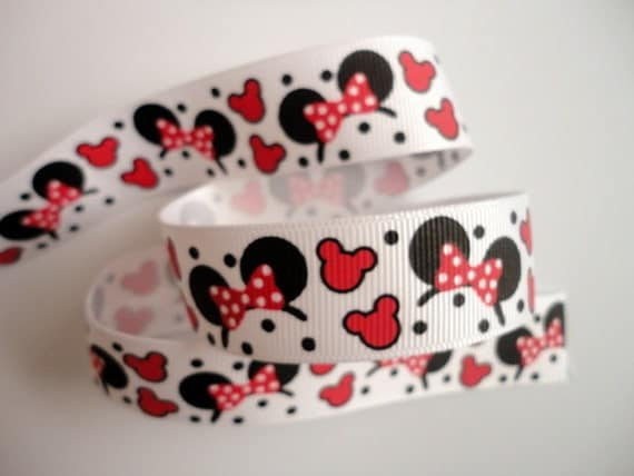 """5 Yards of 7/8"""" Grosgrain Ribbon Red Mickey Minnie with Hearts Headband Pattern"""