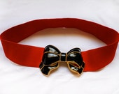 New 80's Elastic red bow belt
