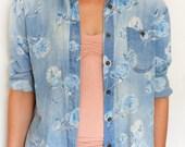 Vintage jean flower print shirt