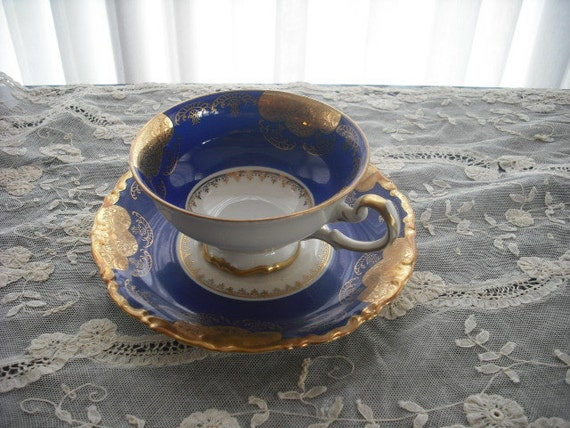 German Colbalt Blue and Gold Embossed Teacup and Saucer