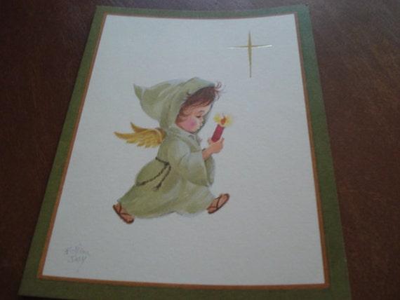 Vintage Brain Day Christmas Card, Child Card, Candle Card, Angel Card