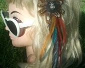 Long and colourful feather hair clip, clip in feather extension