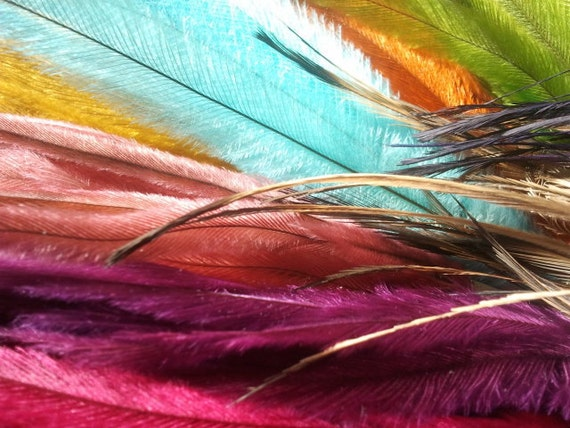 Emu feather hair extensions, feather hair, hair feathers, craft supplies, jewellery supplies