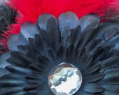 Red Feather Hair Clip with Black Flower Gerbera Daisy