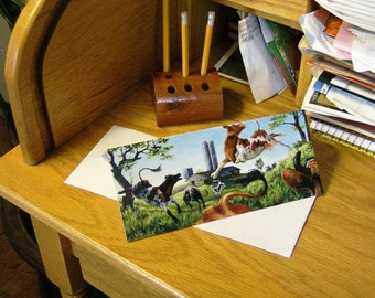 """Cow Note Cards Blank """"Thrill of Spring"""" 5 Pack"""