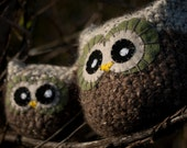 Brown and Tan Crochet Owl - Plush, Decorative Pillow, Amigurumi