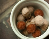 Felt Acorns / Brown and Beige / Autumn Decor / Winter Decor / Set Of 8 / Waldorf Inspired