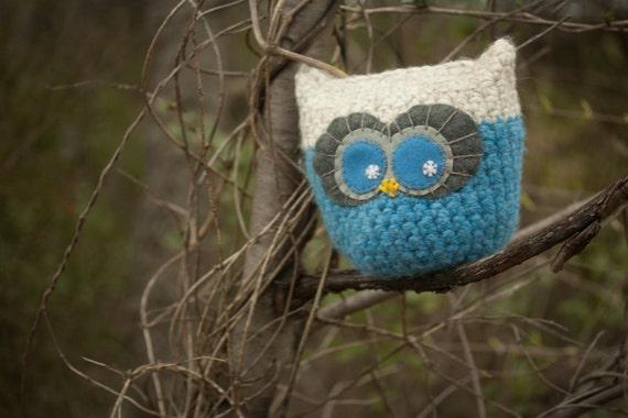 SALE Owl Amigurumi - Blue and White, Pillow, Plush, Ready To Ship