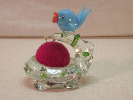 Collectibles - 1960s Glass Bird Pin Cushion
