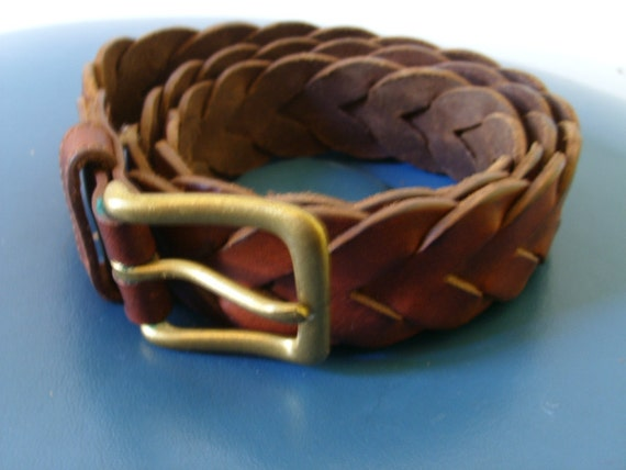 Vintage 70s leather WOVEN braided belt
