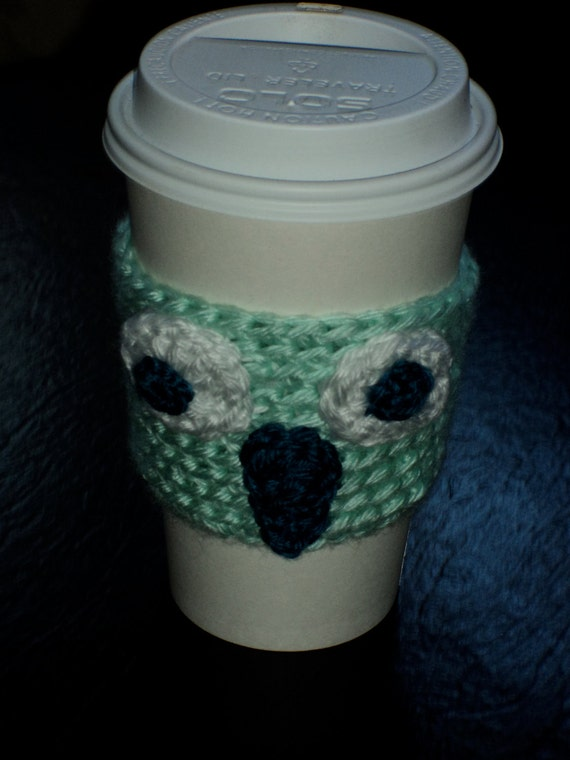 Mint Green Owl Coffee Cozy