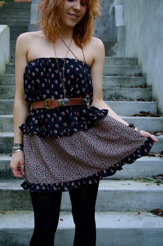 RESERVED. Fleur. Eco UpCycled Flowered Strapless Dress w Vintage Vegan Leather Belt
