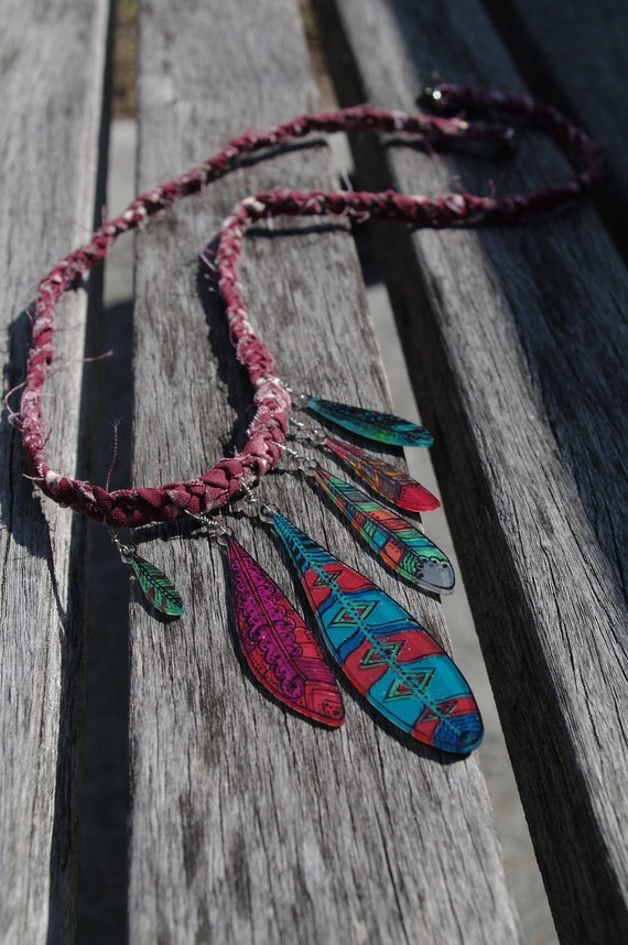 Clover. Psychedelic Shrink-Plastic Art Feather Necklace on Woven Cotton Fabric Cord