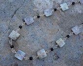 Wire Wrapped Black Mother of Pearl and Black Faceted Glass Necklace