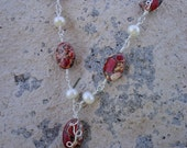 Wire Wrapped Jasper and Cultured Pearl Necklace