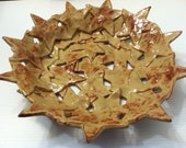 Large Mocha Brown pottery bowl of stars ,OOAK , star bowl, pottery bowl , pie plate , pottery star , star pottery